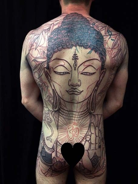 JOEY,backpiece,tattoo,Jo Harrison,Un1ty,Modern body Art, Shrewsbury tattooist,Birmingham tattooist,BUDDHA