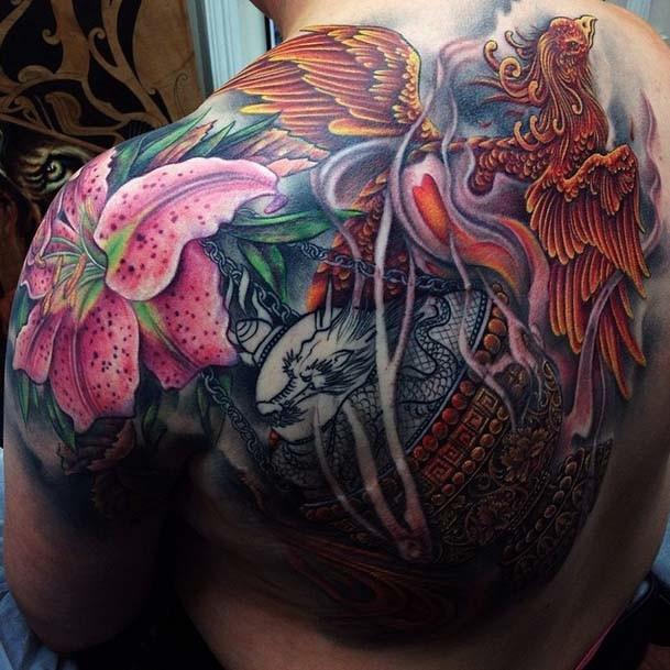 KIRSTY,INSENCE,PHOENIX,backpiece,tattoo,Jo Harrison,Un1ty,Modern body Art, Shrewsbury tattooist,Birmingham tattooist