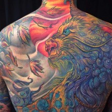 KRIS,fu dog,backpiece,tattoo,Jo Harrison