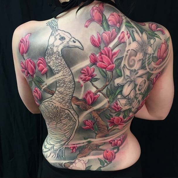SOPHIE,backpiece,tattoo,Jo Harrison,Un1ty,Modern body Art, Shrewsbury tattooist,Birmingham tattooist,PEACOCK